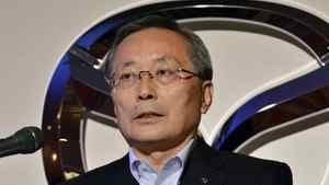 President of Japanese automaker Mazda Motor Takashi Yamanouchi annouces the company's business forecasts in Tokyo on June 17, 2011.