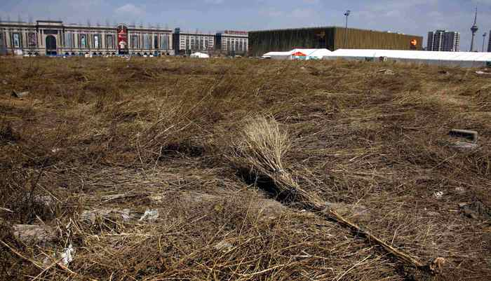 A make-shift broom lies on a deserted field that was once part of the stadium where the 2008 Olympic Games baseball competition was held in central Beijing March 30, 2012.