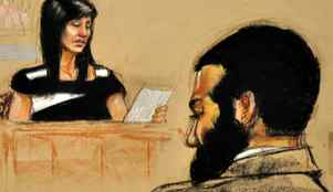 In this Pentagon-approved court sketch, Tabitha Speer, widow of U.S. Sergeant Christopher Speer, testifies at the military trial of Omar Khadr in Guantanamo Bay, Cuba, on Oct. 28, 2010.