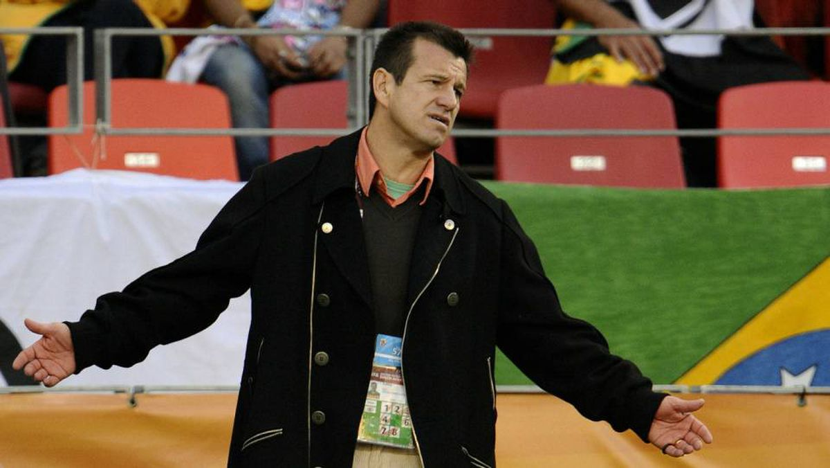 Brazil's coach Dunga reacts during the 2010 World Cup quarter final Netherlands vs Brazil on July 2, 2010 at Nelson Mandela Bay stadium in Port Elizabeth. Dunga admitted he would have to take the rap for Brazil's World Cup heartbreak and that his four-year reign as coach had ended with a quarter-final defeat at the hands of the Netherlands.