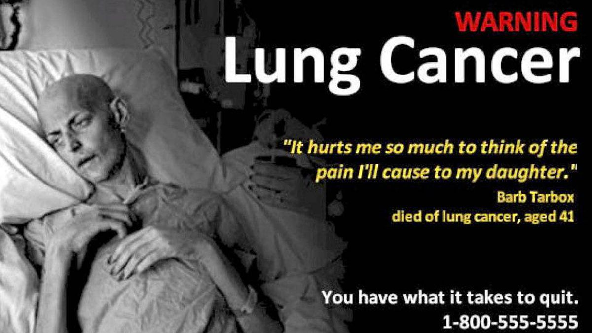 An example of the larger and more graphic anti-smoking ads that Physicians for a Smoke-Free Canada would like to see on cigarette packages.