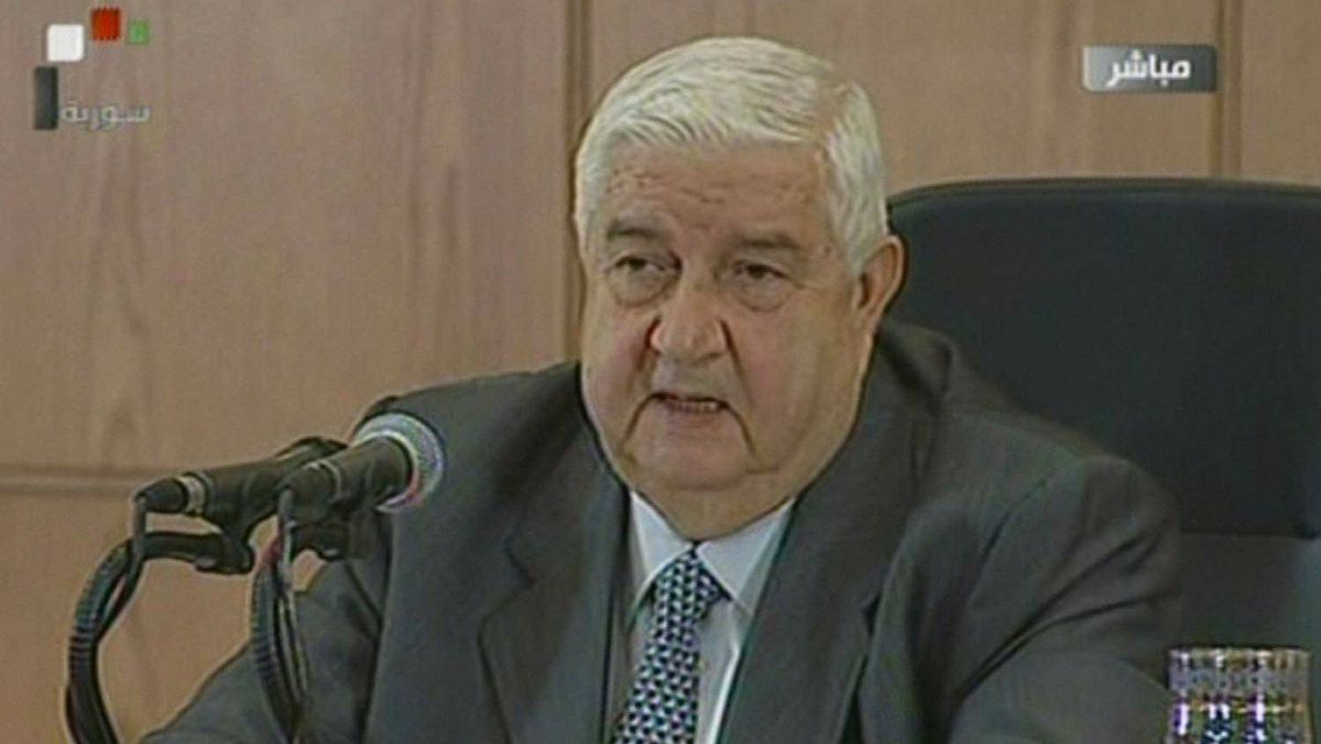 An image grab taken from Syrian state TV shows Syrian Foreign Minister Walid al-Moallem speaking during a news conference in Damascus on Nov. 14, 2011.