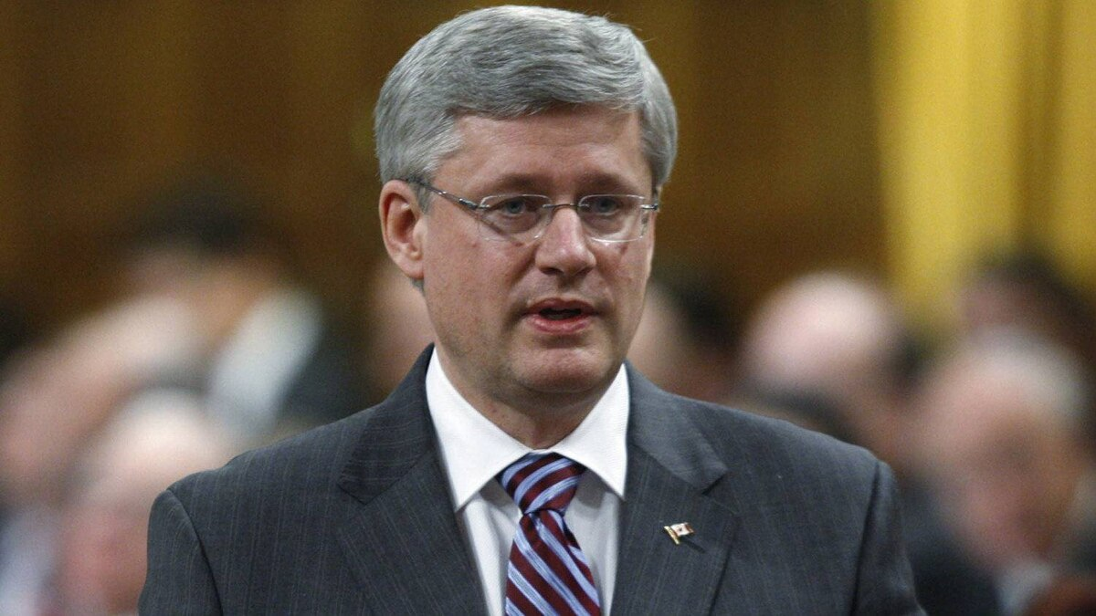 Prime Minister Stephen Harper rises during Question Period in the House of Commons in Ottawa, Wednesday, April 4, 2012.