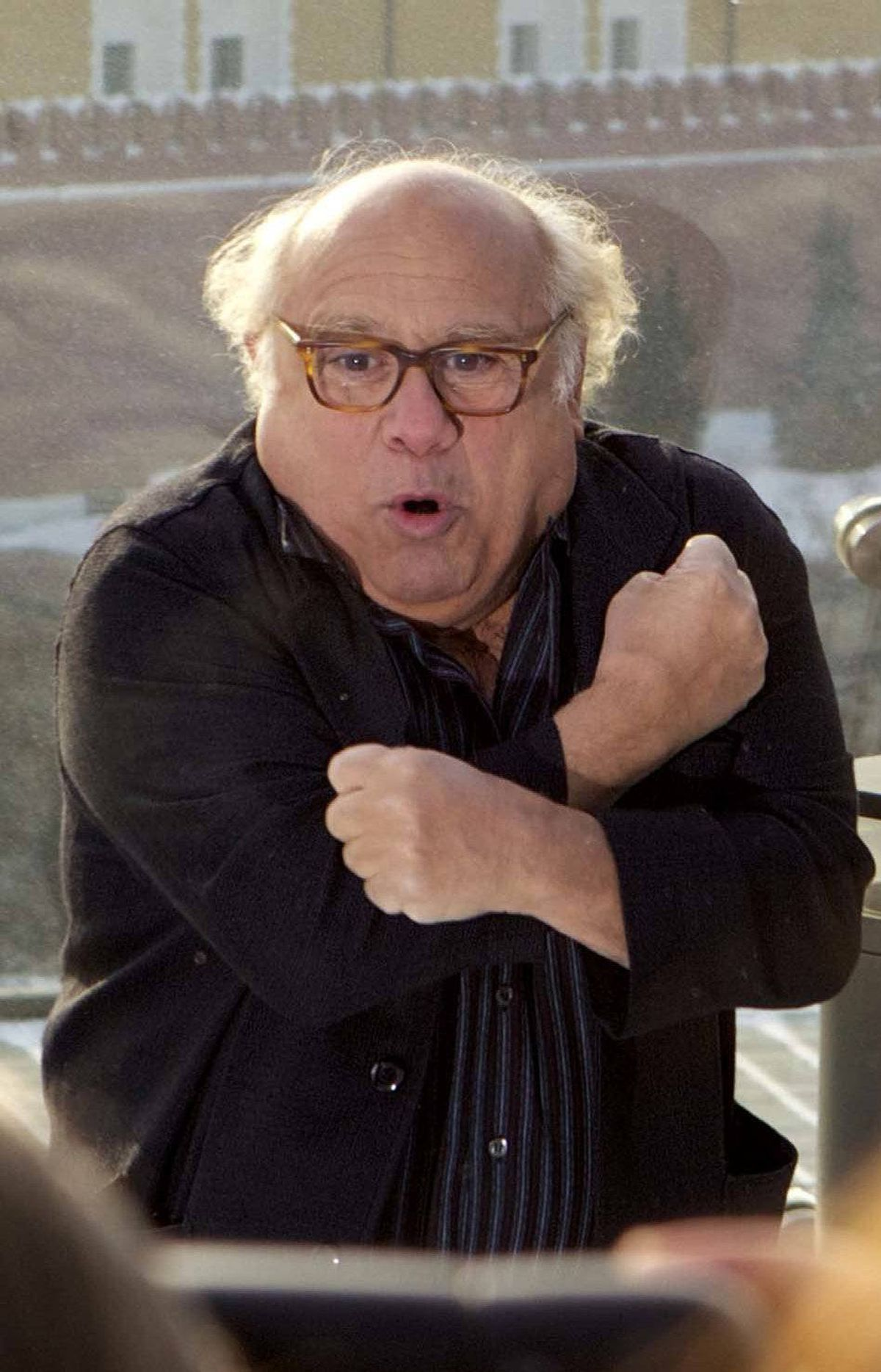 "Danny DeVito is gripped with fear upon hearing of the Canadian robo-call scandal before the premiere of ""The Lorax"" in Moscow, Russia on Tuesday."