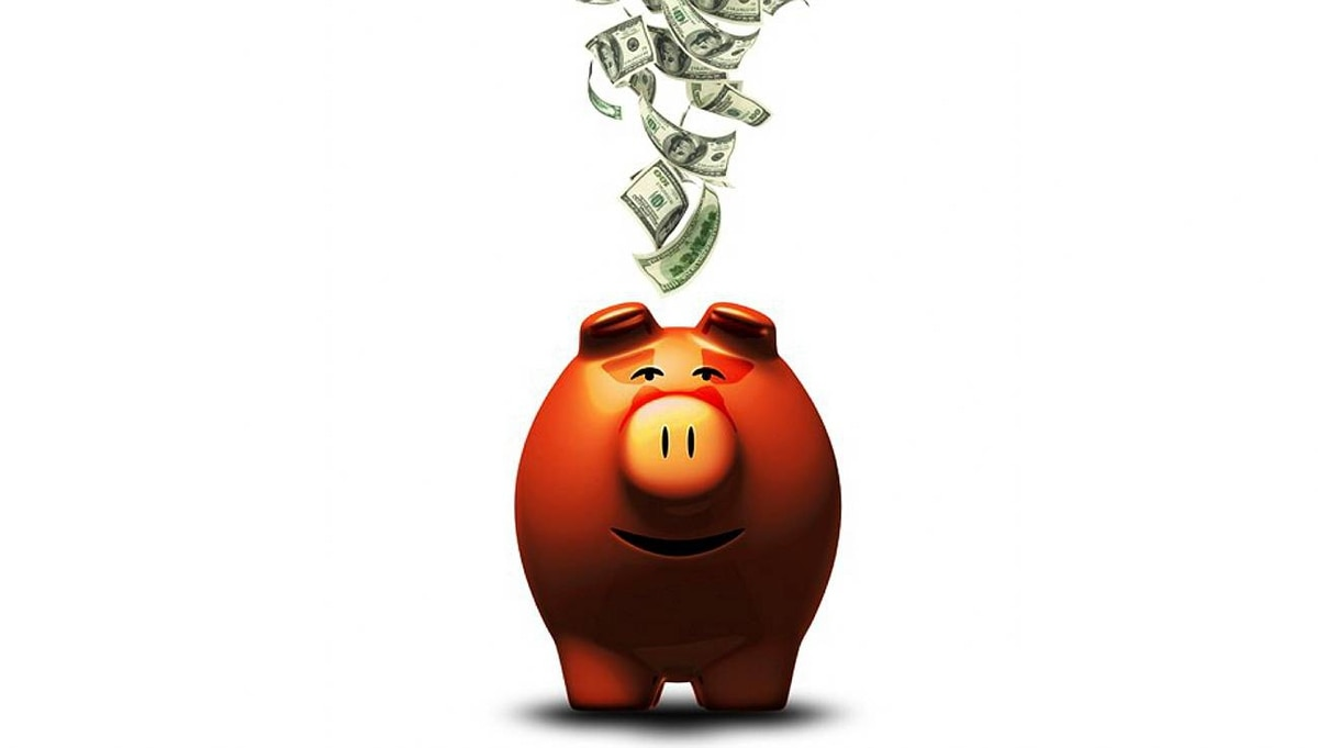 File Number: 6944069 Happy Piggy Bank Lots of money falling into happy faced piggy bank. White background. Credit: iStockphoto (Royalty-Free)