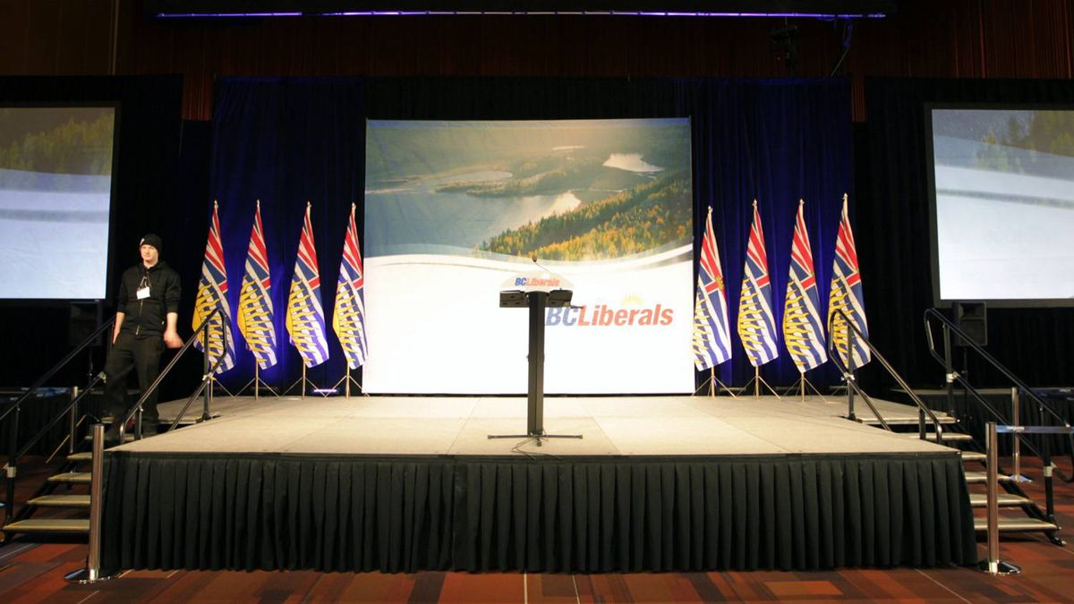 The stage is set at the B.C. Liberal Convention in Vancouver Feb. 26, 2011, before votes are counted.