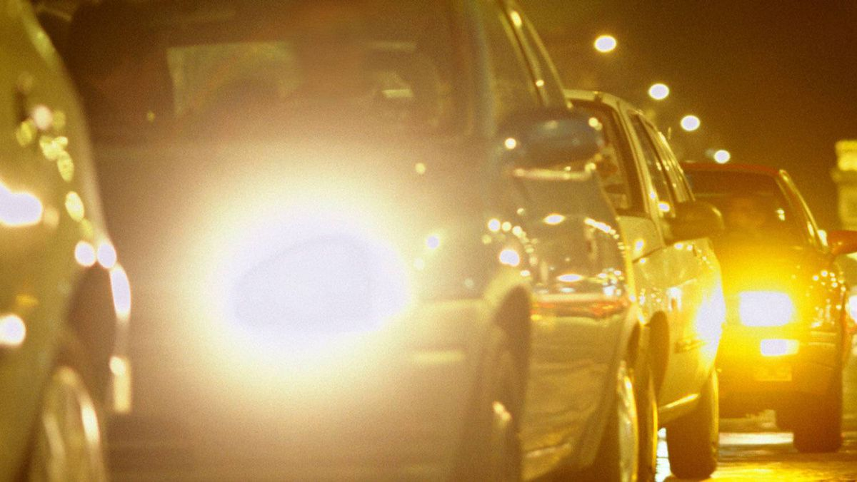 Short of stopping the vehicle and having the bulbs removed for inspection, there is little that can be done about ultra-bright headlights.