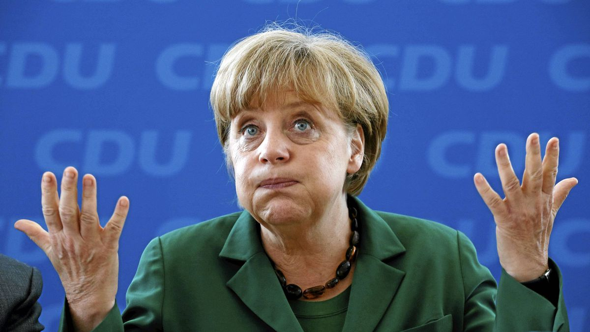 German Chancellor and Christian Democratic Union party leader Angela Merkel reacts before a party board meeting in Berlin, May 7, 2012.