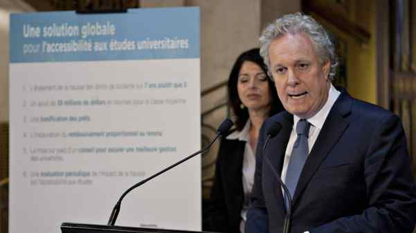 Quebec Premier Jean Charest and Education Minister Line Beauchamp unveil their offers to student over tuition hikes Friday, April 27, 2012 at the Premier's office in Quebec City.
