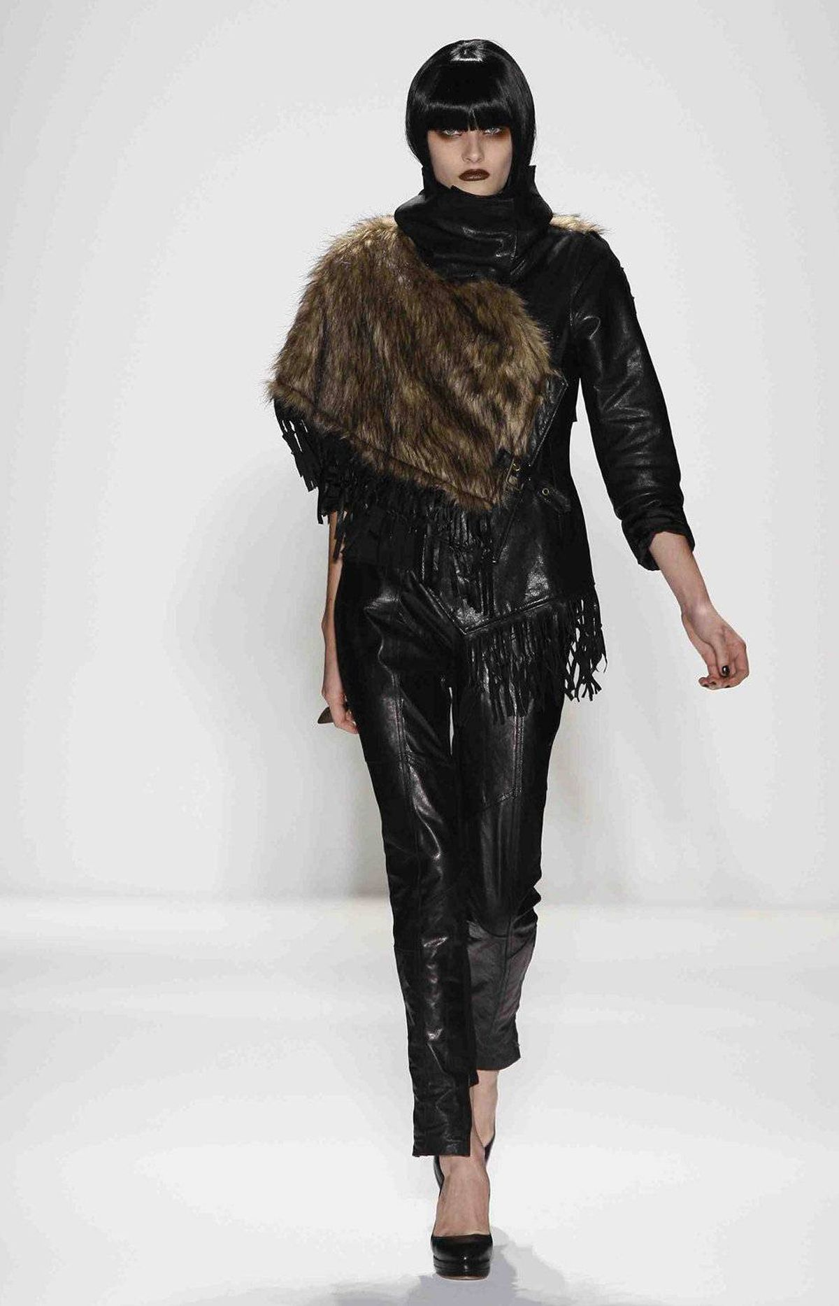 A fur panel like this can come across as awkwardly placed. And won't the other shoulder feel neglected?