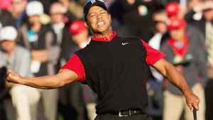 Tiger Woods reacts after making his putt on the 18th hole for his victory during the final round of the Chevron World Challenge at Sherwood Country Club. Allan Henry-US PRESSWIRE