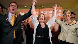 NDP MLA-elect Gwen O'Mahony, centre, celebrates her by-election win in the riding of Chilliwack-Hope with B.C. NDP leader Adrian Dix, left, and former leader and current MLA Carole James, right, in Chilliwack, B.C., on Thursday April 19, 2012.