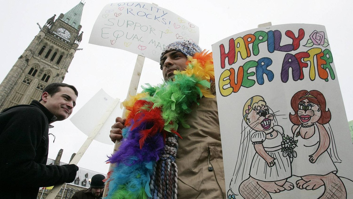 Same-sex marriage was effectively legalized in Canada by the courts in 2004. One year later, the Liberal government of then prime minister Paul Martin enshrined it in law.