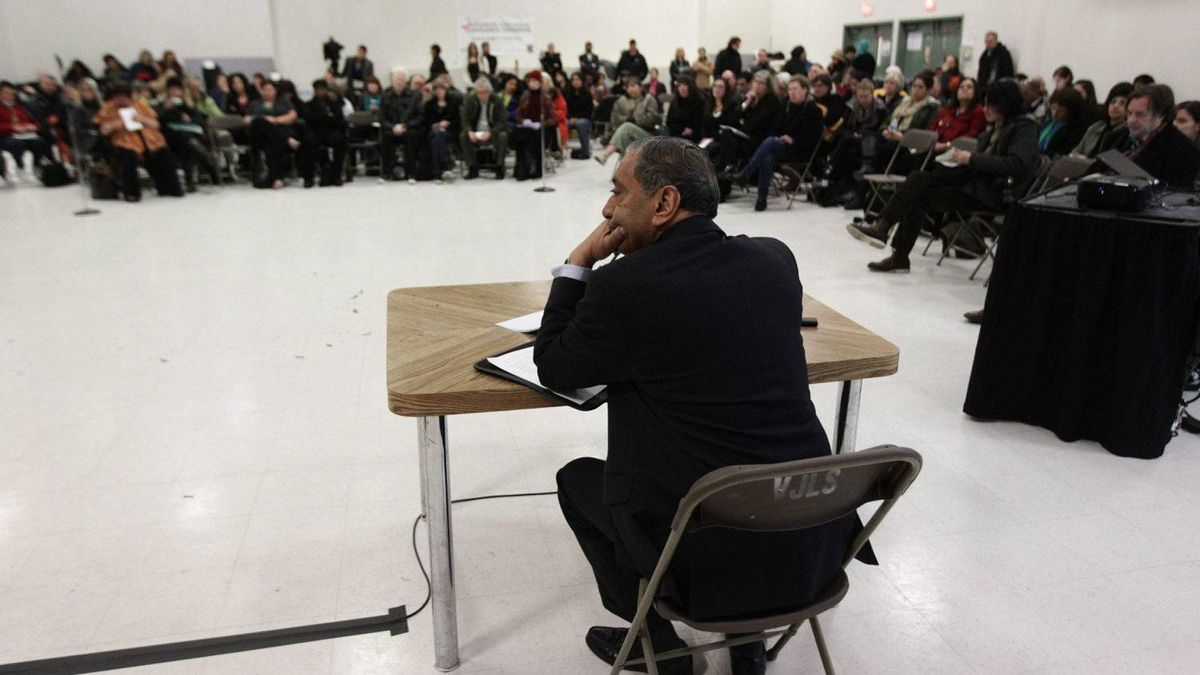 Commissioner Wally Oppal listens to presentations during the Missing Women Commission of Inquiry public forum in Vancouver, B.C., on Wednesday January 19, 2011.