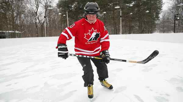 Governor General David Johnston takes to the ice at the outdoor rink at Rideau Hall in Ottawa on March 1, 2012.