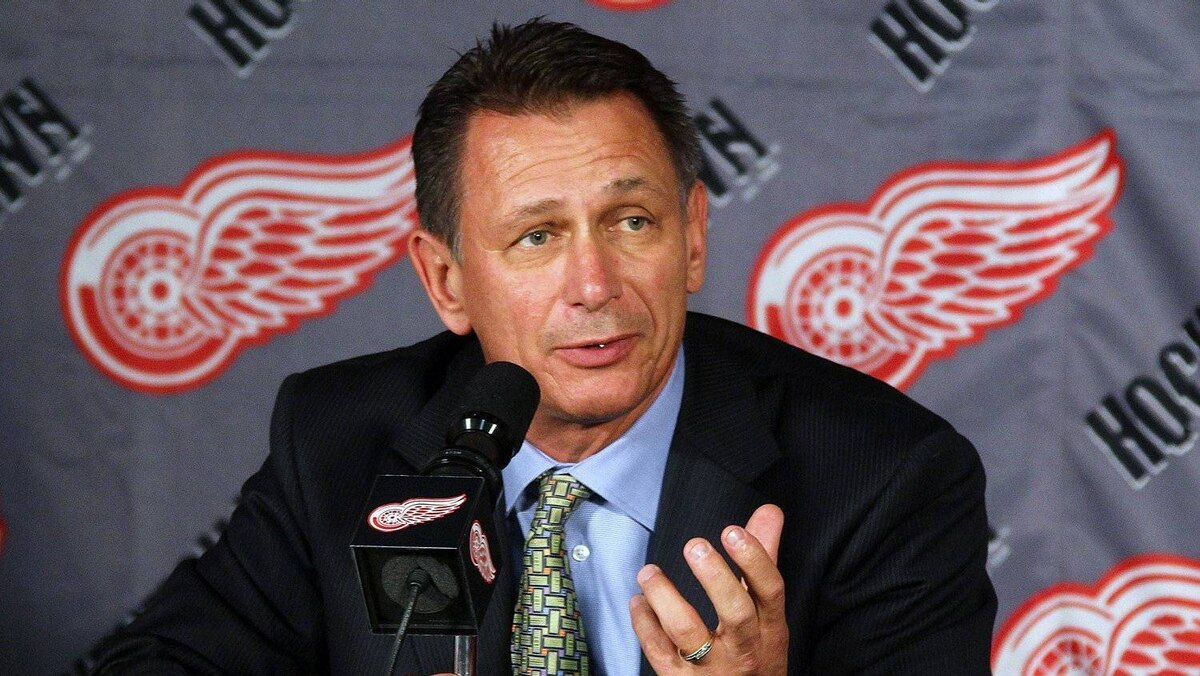 Executive Vice President and General Manager, Ken Holland of the Detroit Red Wings address the media during a press conference to announce the retirement from hockey of Kirk Maltby #18 before a NHL game against the Colorado Avalanche at Joe Louis Arena on Friday October 12, 2010 in Detroit, Michigan.