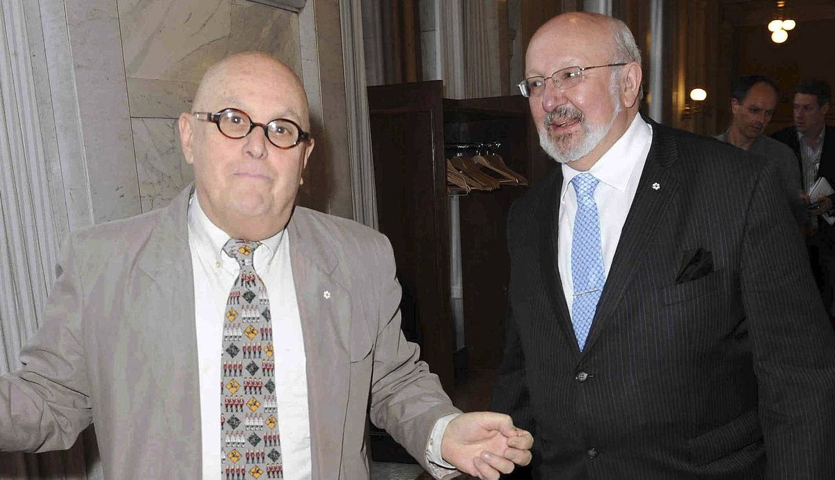 "Charles Pachter and Pat Ferns at the ""60-in-60"" Diamond Jubilee photo exhibit launch, in the Lieutenant Governor's Suite Queen's Park."