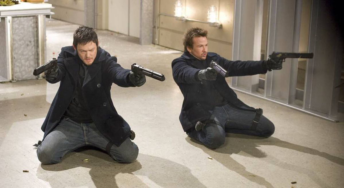 Norman Reedus, right, and Sean Patrick Flanery reprise their roles as avenging Irish Bostonians in The Boondock Saints II: All Saints Day.