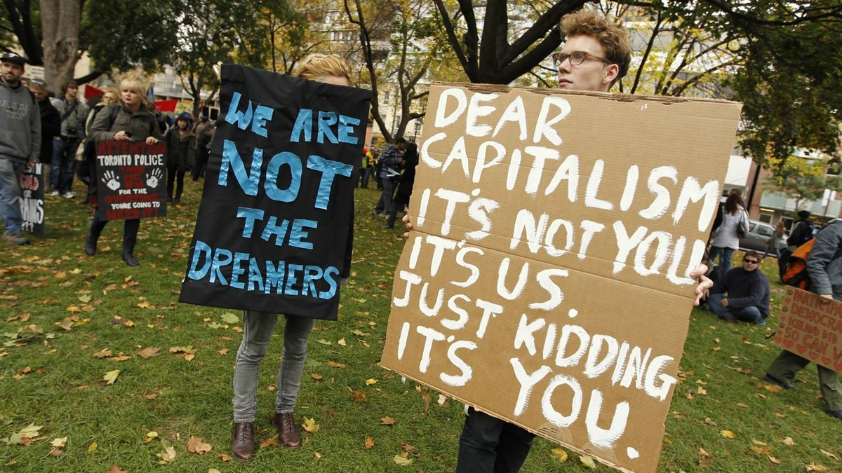 A protesters at St. James Park injects humour into Occupy Toronto on October 15, 2011.