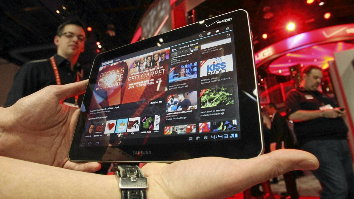 A Samsung tablet runs a Ustream App during the 2012 International Consumer Electronics Show in Las Vegas last month.