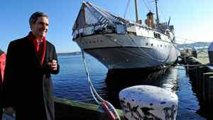 Liberal Leader Michael Ignatieff walks along the waterfront during a campaign stop in Halifax on April 4, 2011.