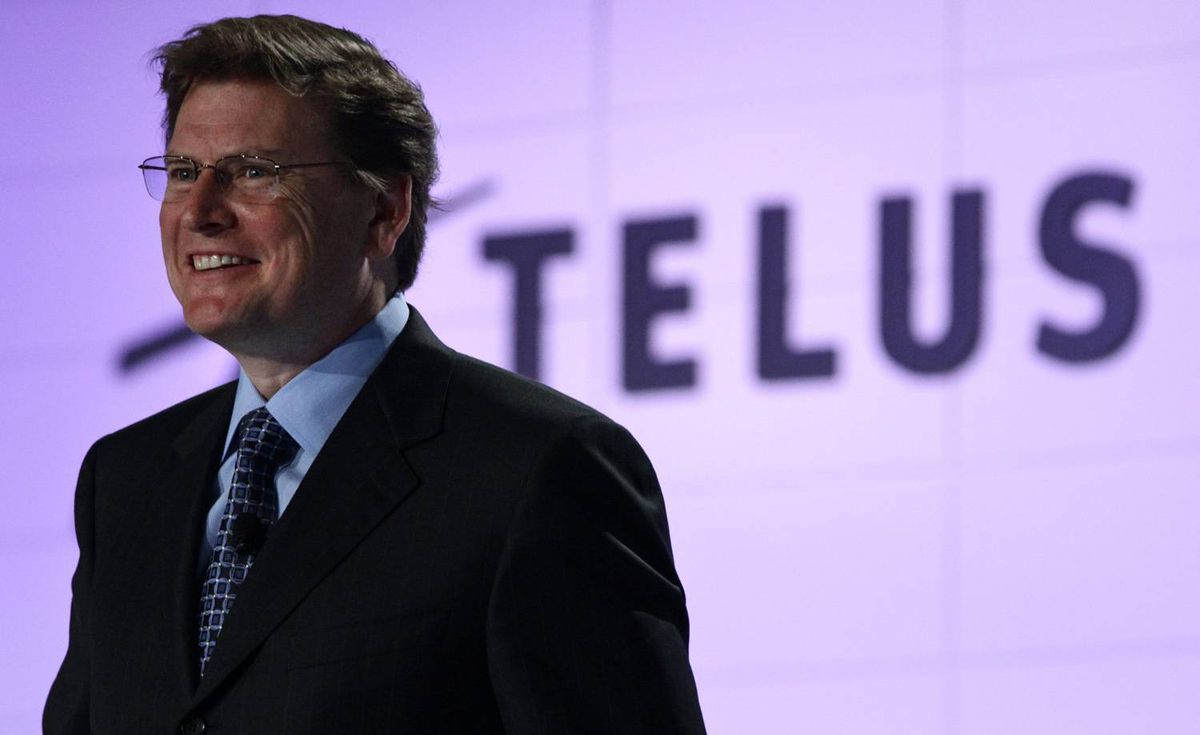 Telus President and CEO Darren Entwistle smiles while addressing the company's annual general meeting in Vancouver, B.C., on Wednesday May 5, 2010. THE CANADIAN PRESS/Darryl Dyck