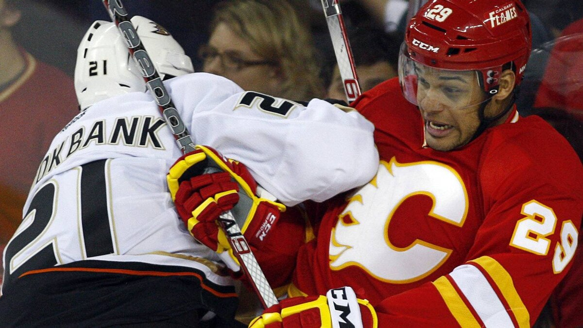 Anaheim Ducks' Sheldon Brookbank, left, checks Calgary Flames' Akim Aliu, from Nigeria, during third period NHL hockey action in Calgary, Alta., Saturday, April 7, 2012. The Calgary Flames beat the Anaheim Ducks 5-2. THE CANADIAN PRESS/Jeff McIntosh