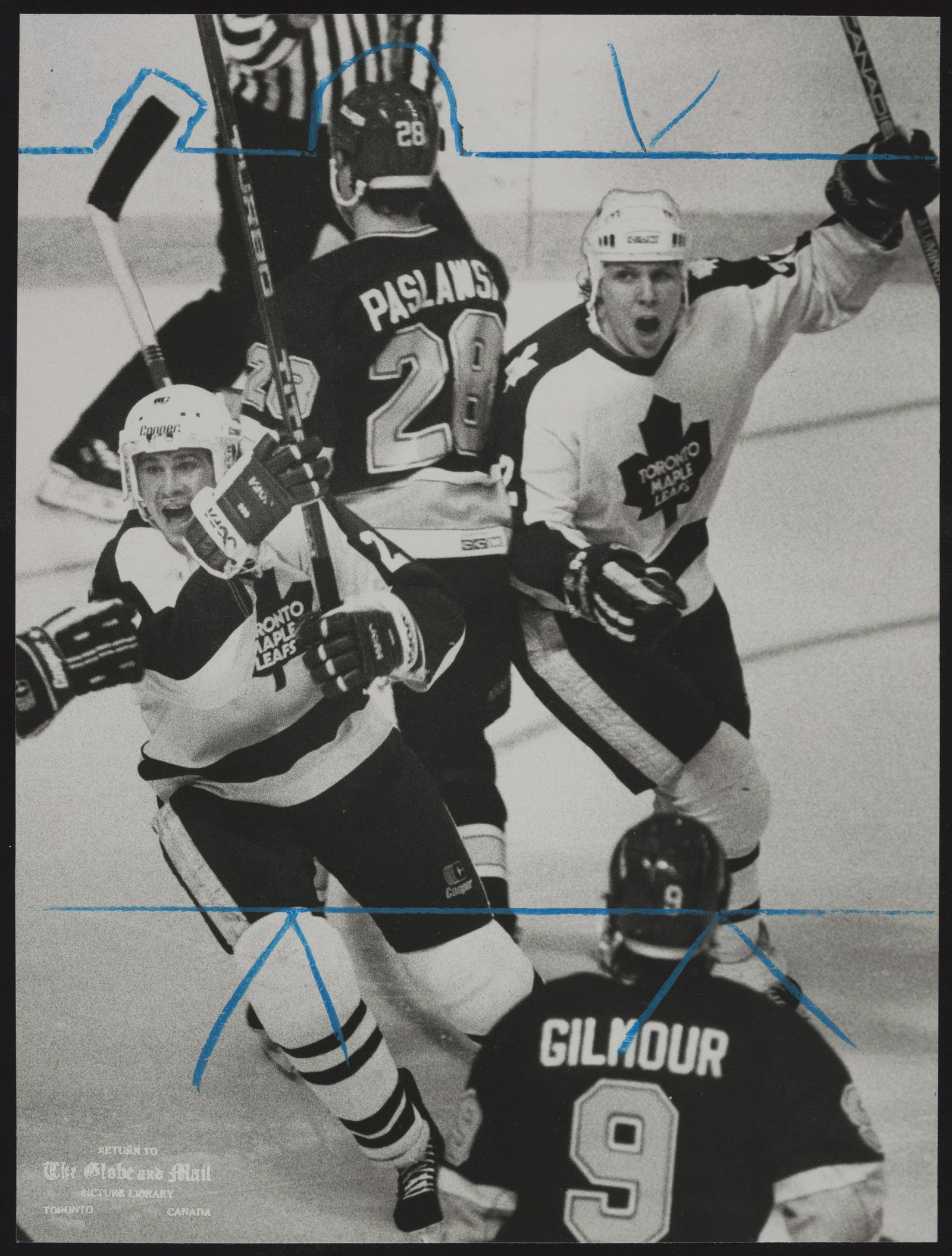 TORONTO MAPLE LEAFS Toronto Maple Leafs Rick Vaive, left, and Steve Thomas celebrate goal by linemate Tom Fergus that tied last night's game with St. Louis Blues at 2-2. Leafs went on to 5-2 victory, taking a 2-1 lead in Stanley Cup playoff series.