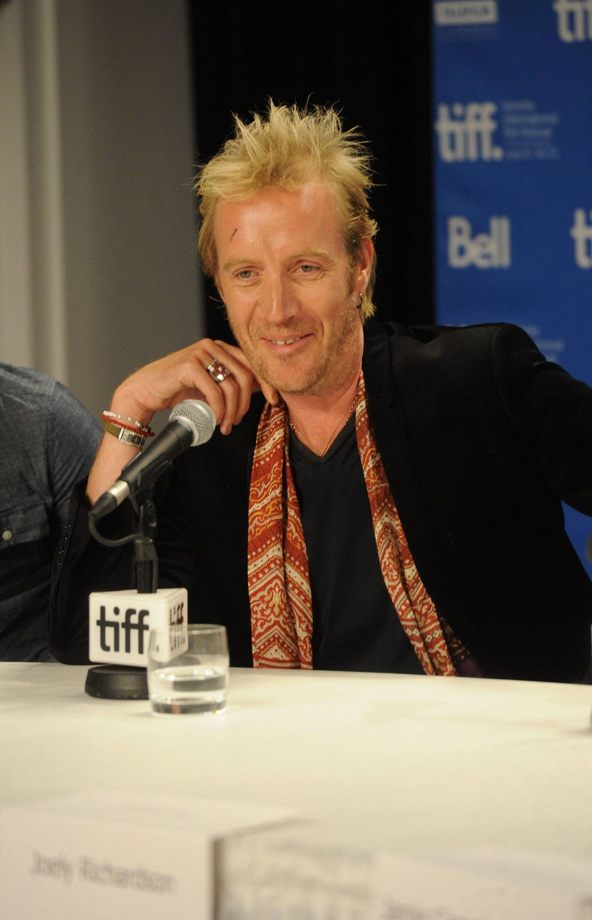 "TORONTO, ON - SEPTEMBER 11: Actor Rhys Ifans speaks at ""Anonymous"" press conference during the 2011 Toronto International Film Festival at TIFF Bell Lightbox on September 11, 2011 in Toronto, Canada."