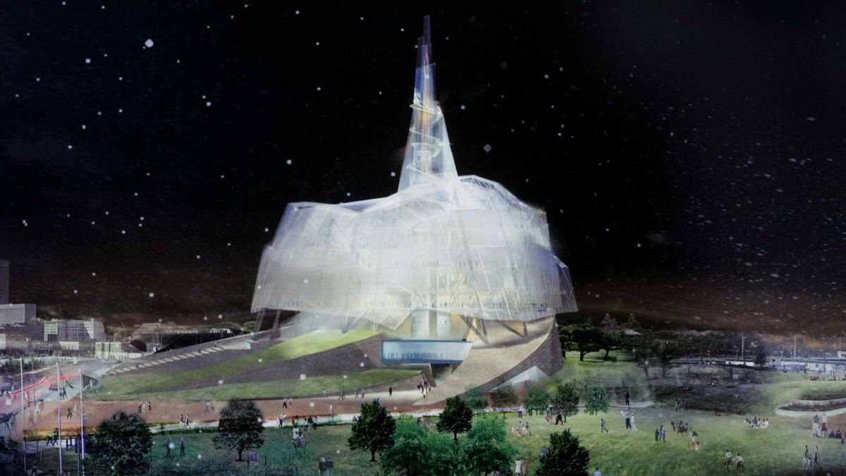 Architect's rendering of the Canadian Museum for Human Rights in Winnipeg