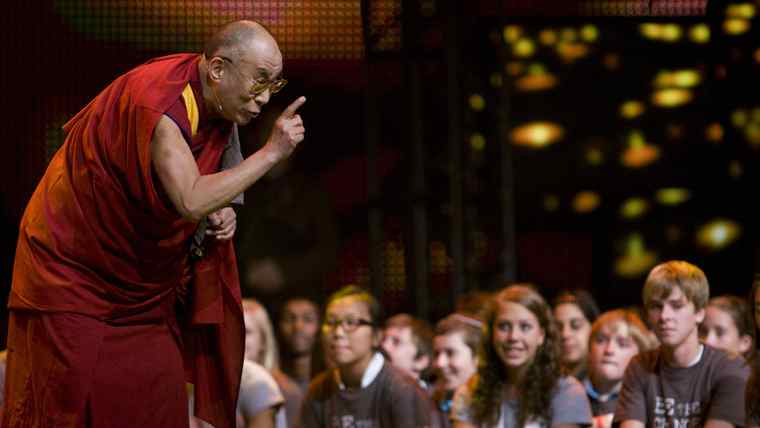 His Holiness the Dalai Lama takes a moment to speak to youth attending We Day in Vancouver, Tuesday, Sept. 29, 2009.