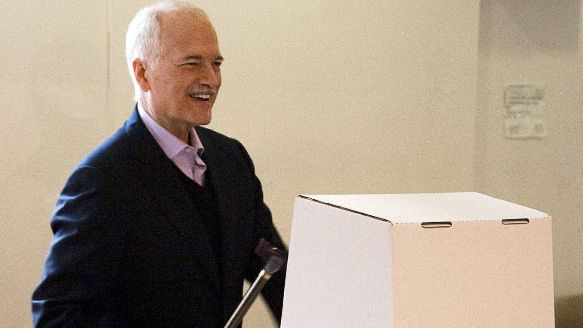 NDP Leader Jack Layton marks his ballot at a voting station at Cecil Community Centre in Toronto on Monday, May 2, 2011.