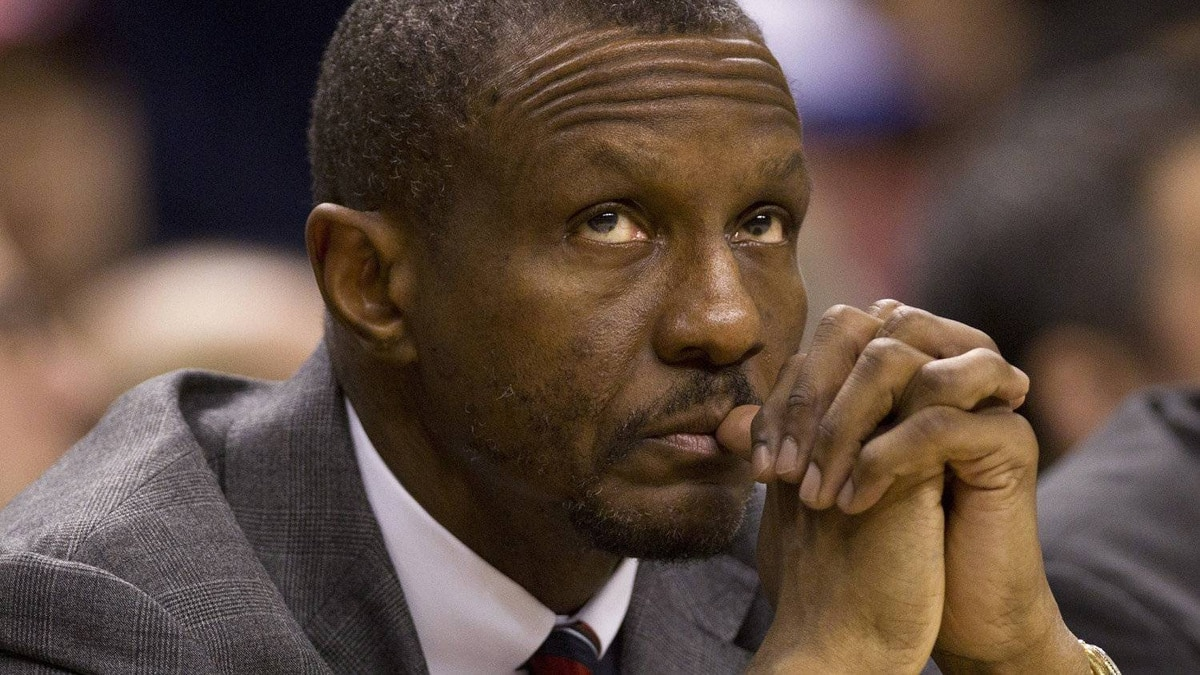 Toronto Raptors head coach Dwane Casey watches during NBA action against the New Jersey Nets in Toronto on Thursday April 26, 2012.