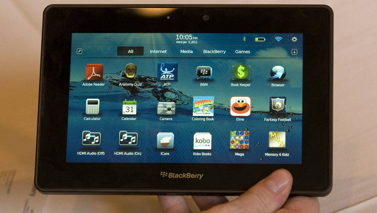 A prototype BlackBerry PlayBook is displayed by an official of Research In Motion at the 2011 International Consumer Electronics Show in Las Vegas.