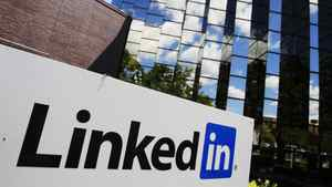 LinkedIn Corp., the professional networking Web site, displays its logo outside of headquarters in Mountain View, Calif., Monday, May 9, 2011.