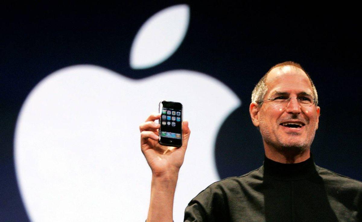 Apple's Steve Jobs with the iPhone