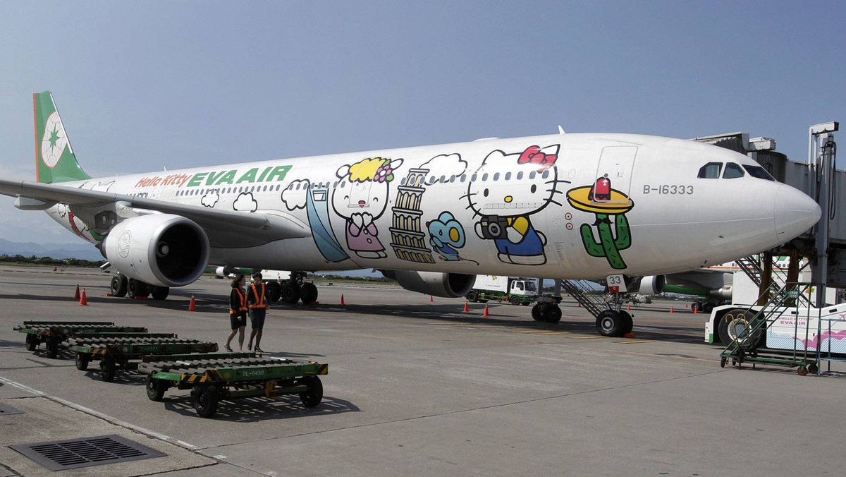 Currently, three Hello Kitty-themed Airbus A330-300 aircrafts fly between cities such as Taipei, Fukuoka, Narita, Sapporo, Incheon, Hong Kong and Guam. The planes are a collaboration between Taiwan's Eva Air and Japan's Sanrio, which owns the Hello Kitty brand.