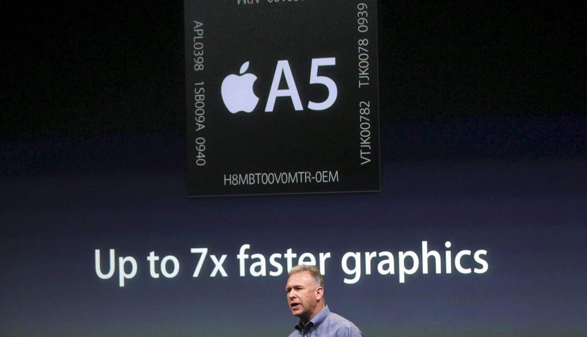 Philip Schiller, Apple's senior vice president of Worldwide Product Marketing, speaks about the A5 processor at Apple headquarters in Cupertino