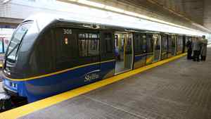 BC Rapid Transit Company's SkyTrain car, called the Mark II 1300 and 1400 Series.