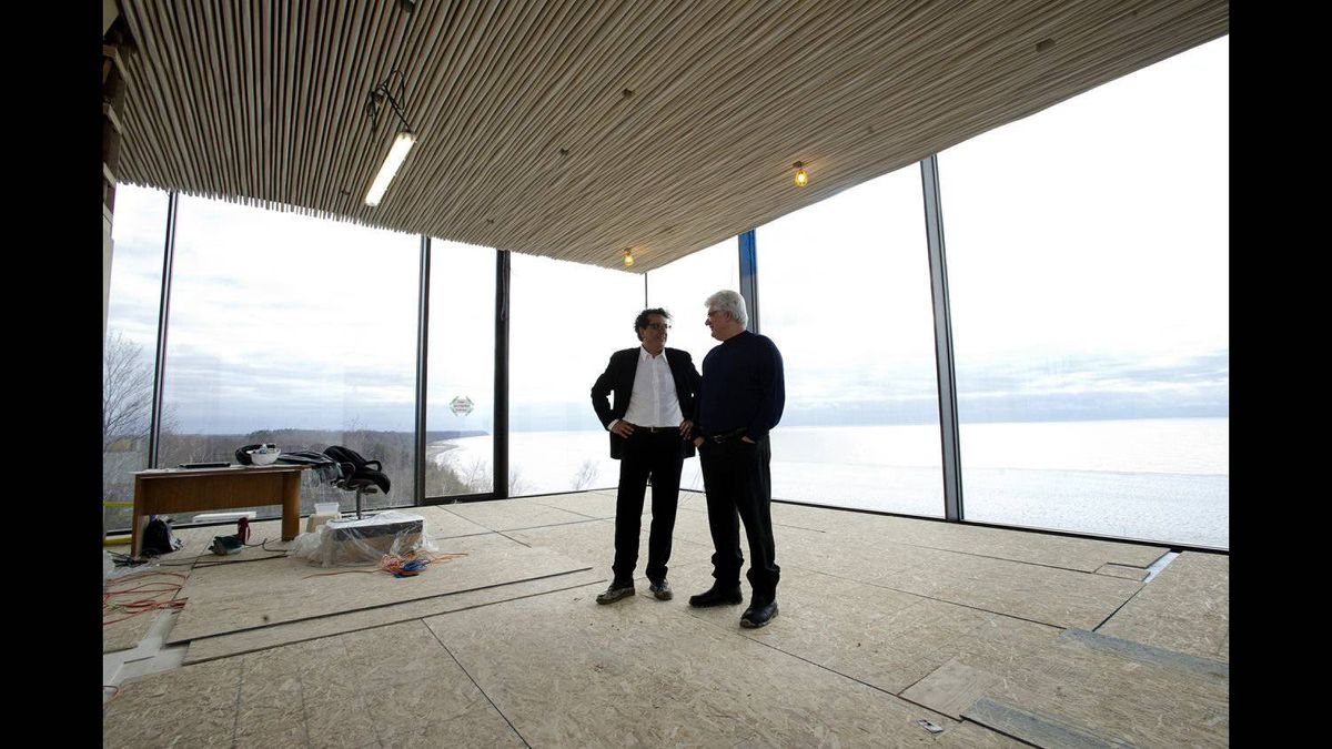 Former RIM co-CEO Mike Lazaridis, right, and Architect Siamak Hariri stand what will be the office at Lazaridis' property located near Amberley, ON. Feb. 1, 2012.