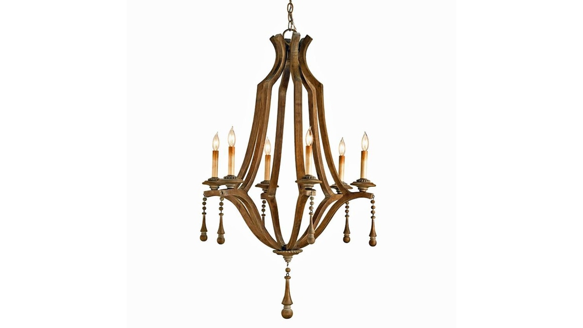 Currey & Company's Simplicity fixture translates the opulent look of a traditional crystal chandelier into intricately carved wood.