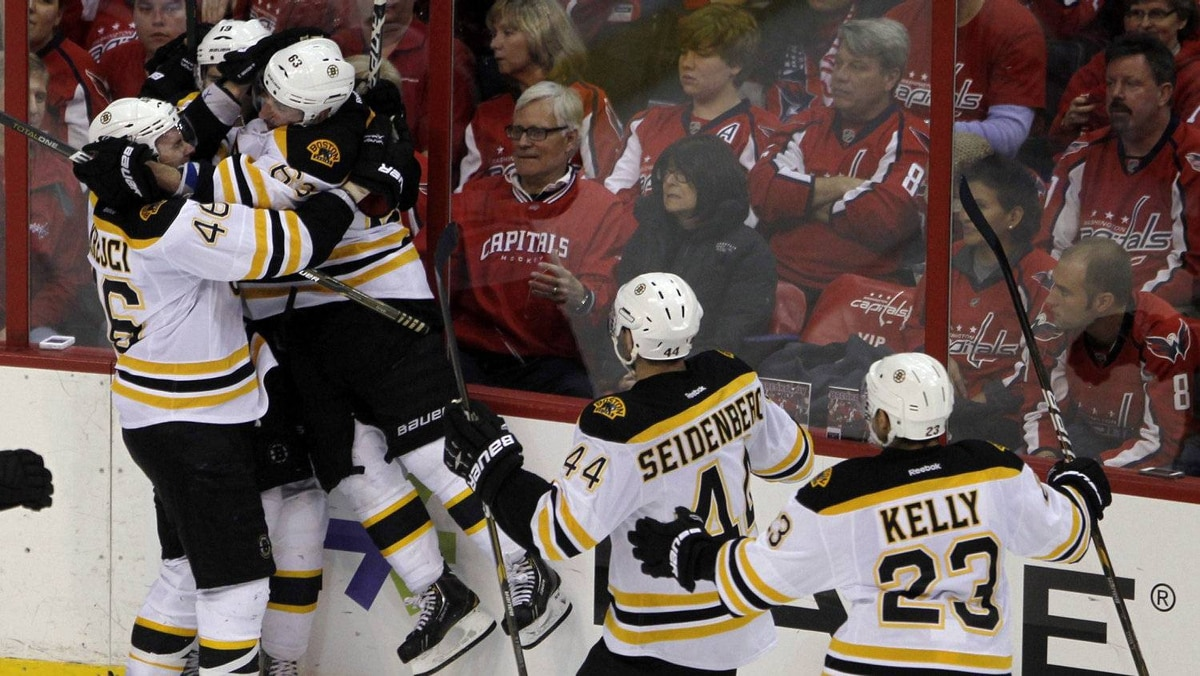 Boston Bruins celebrate after Tyler Seguin scored a game winning goal against the Washington Capitals in the first overtime period of Game 6 of their NHL Eastern Conference quarter-final hockey playoff series in Washington April 22, 2012.