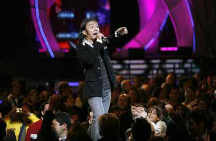 Arnel Pineda, the lead singer of the U.S. rock group Journey, performs during the second night of the 49th International Song Festival in Vina Del Mar city.