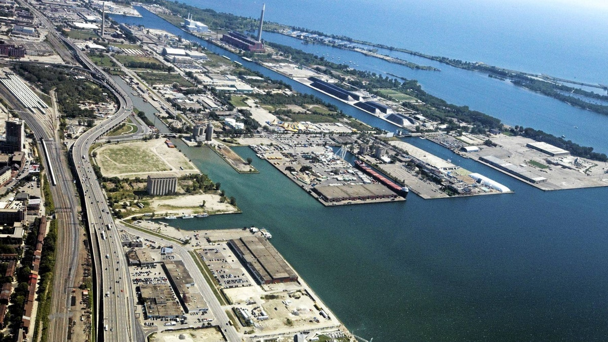 Toronto's Port Lands stretches from the inner harbour to Leslie Street south of Lake Shore Blvd.