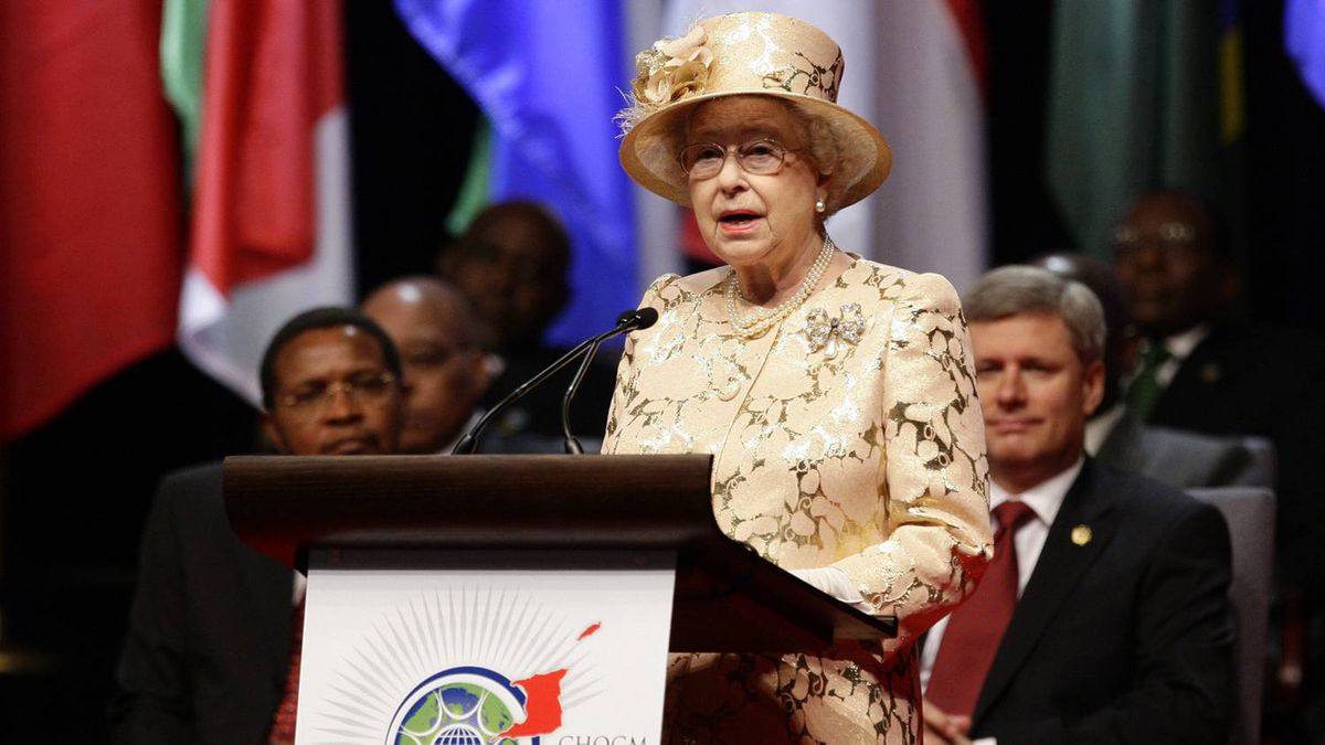 The Queen speaks during the opening ceremony of the Commonwealth Heads of Government meeting in Port-of-Spain, Friday, Nov. 27, 2009.