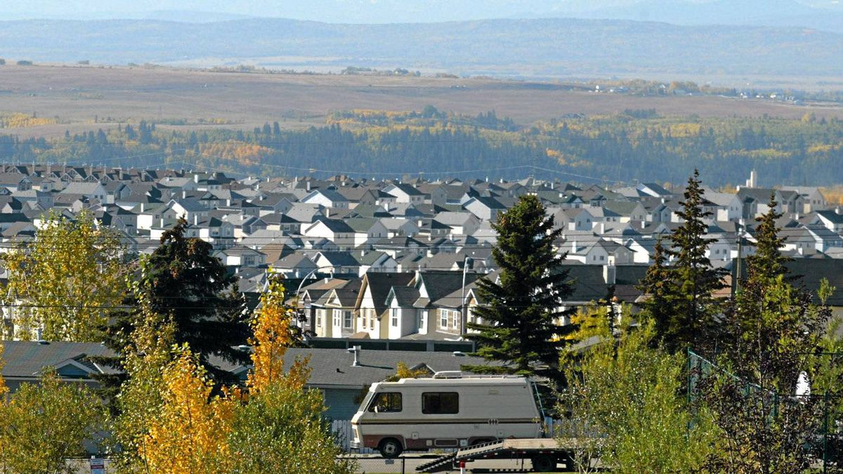 Urban sprawl has been encroaching on the foothills around Calgary at an alarming pace and is showing no signs of letting up. This subdivision on the west of Calgary is still expanding and is seen on Tuesday, Sept. 30, 2003.