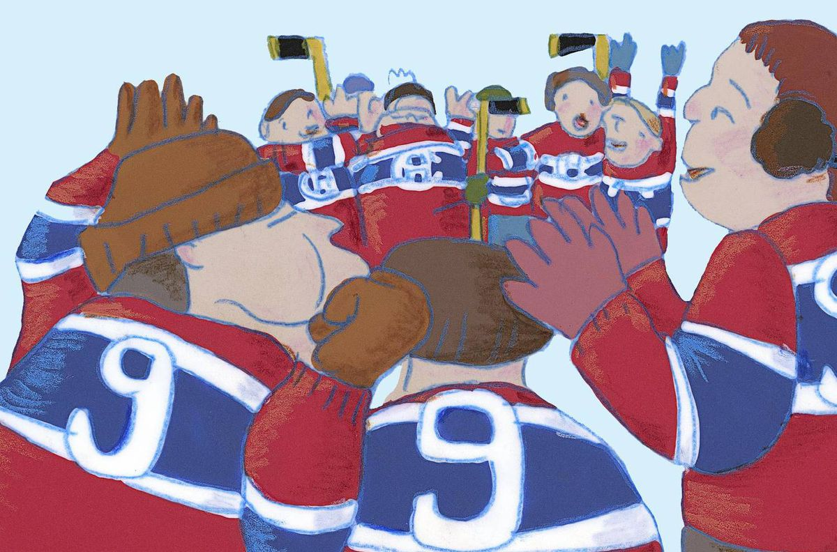 Still of children wearing the No. 9 jersey made famous by Maurice Richard of the Montreal Canadiens in 'The Hockey Sweater,' the animated short of Roch Carrier's book of the same name.