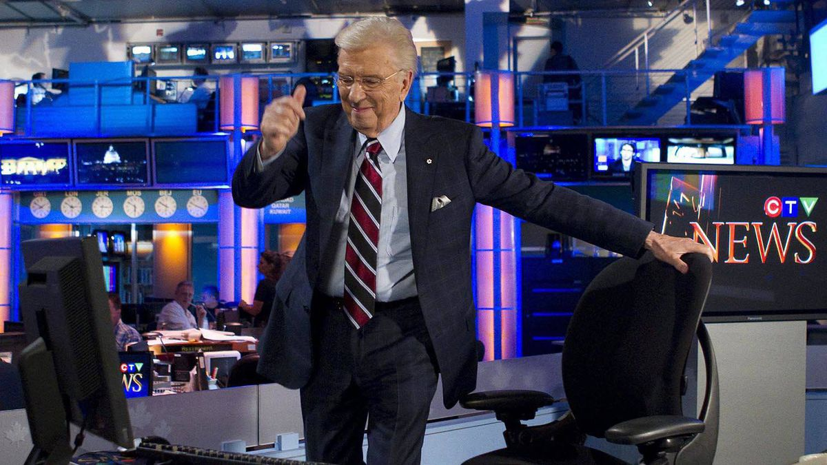 CTV News anchor Lloyd Robertson gives a thumbs-up to producers as he takes his seat for his final newscast on Sept. 1, 2011.