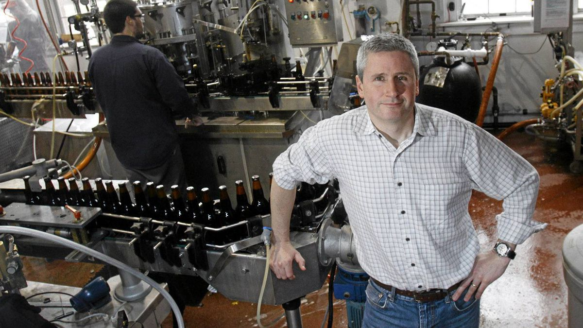 Brian Titus, owner of Garrison Brewery, at the bottle assembly line at his Halifax plant, May 25, 2011