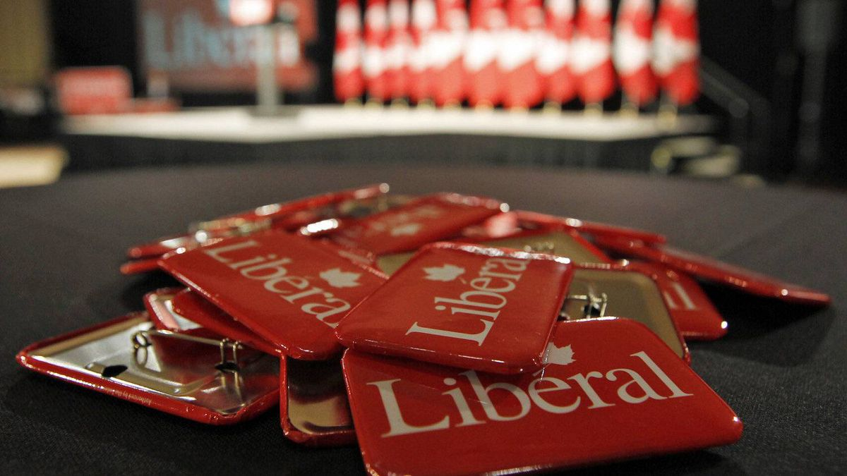 Liberal buttons await supporters at Michael Ignatieff's election-night headquarters in Toronto on May 2, 2011.